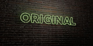 ORIGINAL -Realistic Neon Sign on Brick Wall background - 3D rendered royalty free stock image Royalty Free Stock Photography