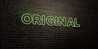 ORIGINAL - realistiskt neontecken på bakgrund för tegelstenvägg - 3D framförd fri materielbild för royalty Royaltyfri Fotografi