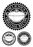 Original Recipe Seal. Delicious Original Recipe Emblem in Black&White for hot dishes, soups and gastronomic food Stock Image