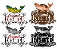 Original Recipe Seal Fish version. Four variations of a Seal made for supporting Fish products Royalty Free Stock Images