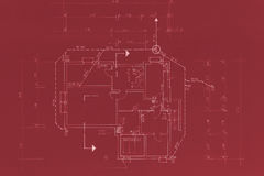 Original Red Blueprint. Red blueprint of my own house - beautiful background image Stock Images