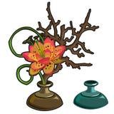 Original red flower in vase, interior decor Royalty Free Stock Photos