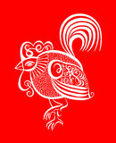 Original red line art rooster calligraphy drawing, symbol of 201. 7 new year, vector illustration Royalty Free Stock Images