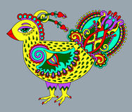 Original retro cartoon chicken drawing, symbol of 2017 new year Royalty Free Stock Image