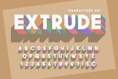 Original retro 3d display font design, alphabet, letters Royalty Free Stock Photography