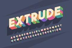 Original retro 3d display font design, alphabet, letters Royalty Free Stock Photos