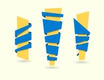 Original ribbon set. Vector illustration. Ribbons banners blue y Royalty Free Stock Photography