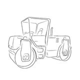 Original road roller, vector illustration. Original road roller isolated on white background. Art vector illustration for you design Stock Image