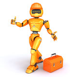 Original robot gives thumb up Royalty Free Stock Image