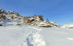 The original rock massif, winter sunny day Stock Photo