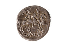Original roman coin silver, Denarius, isolated. Original roman coin silver, Denarius royalty free stock images