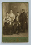Original 1900s antique photo of a family of five Stock Photo