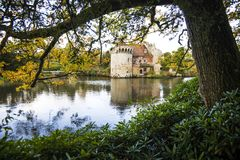 The beautiful gardens at Scotney Castle, near Lamberhurst in Kent, England. The original Scotney Castle was built beginning in 1378 and completed in 1380 royalty free stock photo