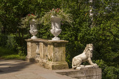 Original sculpture of the lion on the left side of the upper lan Stock Images