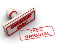 100% ORIGINAL. Seal and imprint. Red stamp and imprint 100% ORIGINAL on white surface stock illustration