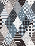 Original seamless patchwork pattern from rhombus elements on gray tones. Beautiful quilt. Vector background vector illustration