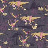 The original seamless pattern with dinosaur princesses. The original pattern with dinosaur princesses is suitable for girls and adult girls. Perfectly suitable Stock Images