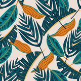 Original seamless pattern with leaves on beige background. Vector design. Jungle print. Printing and textiles. Original seamless pattern with leaves on beige stock illustration