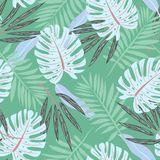 Original seamless pattern with leaves on green background. Vector design. Jungle print. Printing and textiles. Original seamless pattern with leaves on green vector illustration