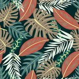 Original seamless pattern with tropical plants on beige background. Vector design. Jungle print. Printing and textiles. Original seamless pattern with tropical vector illustration