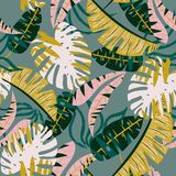 Original seamless pattern with tropical plants and leaves on grey background. Vector design. Jungle print. Printing and textiles. stock illustration