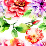 Original seamless wallpaper. Watercolor illustration Stock Images