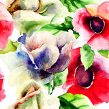 Original seamless wallpaper with wild flowers. Watercolor illustration Royalty Free Stock Photos