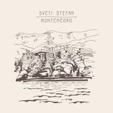 Original sepia sketch drawing of Sveti Stefan island in Monteneg. Ro, Balkans, Adriatic sea, Europe, travel postcard vector illustration Royalty Free Stock Image