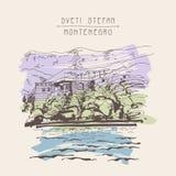 Original sepia sketch drawing of Sveti Stefan island in Monteneg. Ro, Balkans, Adriatic sea, Europe, travel postcard vector illustration Stock Image