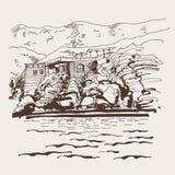 Original sepia sketch drawing of Sveti Stefan island. In Montenegro, Balkans, Adriatic sea, Europe, travel vector illustration Stock Photos