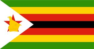 Zimbabwe flag . Original and simple Zimbabwe flag isolated  in official colors and Proportion Correctly. African country flag Royalty Free Stock Photo