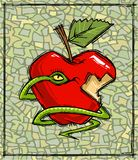 Original Sin Symbols. Snake with red apple - Original Sin symbols.Distinctive artwork style Stock Photo