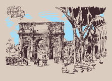 Original sketch digital drawing Rome Italy landmark Royalty Free Stock Photos