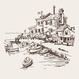 Original sketch drawing of historical fort Petrovac Montenegro. Travel vector illustration Royalty Free Stock Photos