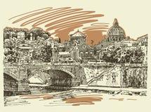 Original sketch drawing Rome Italy cityscape, type of bridge Royalty Free Stock Photos