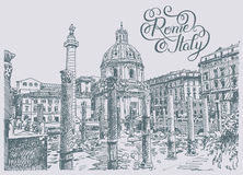 Original sketch hand drawing of Rome Italy famous cityscape with Royalty Free Stock Image