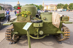 Original small soviet amphibious tank T-38 of World War II on the city action on Palace Square, Saint-Petersburg Royalty Free Stock Images