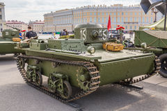 Original small soviet amphibious tank T-38 of World War II on the city action on Palace Square, Saint-Petersburg Stock Images
