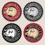 Original Smoked Bacon Seal / Mark. In four variations Royalty Free Stock Photo