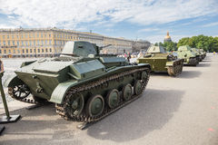 Original soviet tanks of World War II on the city action on Palace Square, Saint-Petersburg Stock Images