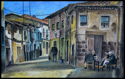 Original spanish village gouache stock photo