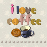 The original spelling of the phrase I love coffee. Royalty Free Stock Image