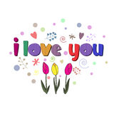 The original spelling of the phrase I love you. Stock Photos
