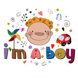 The original spelling of the phrase I'm a boy. Stock Photo