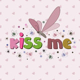 The original spelling of the phrase kiss me. Stock Images