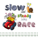 The original spelling of the phrase slow and steady wins the race. Stock Photos