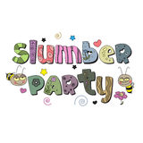 The original spelling of the phrase slumber party. Design for children's printed materials Stock Photos