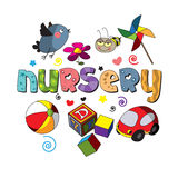 The original spelling of the word nursery. Design for children's printed materials Stock Image
