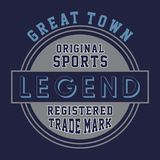 Original sports legend. Design letters and numbers original sports legend for t-shirts Stock Photography