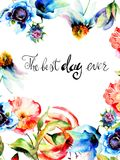 Original Spring flowers with title the best day ever Stock Photo